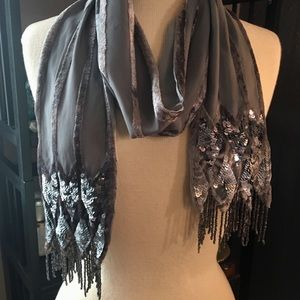 Grey Art Deco inspired, sequined & beaded scarf